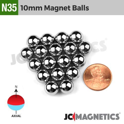 10mm - 3/8in Diameter N35 Magnet Spheres Balls Rare Earth Neodymium Magnet