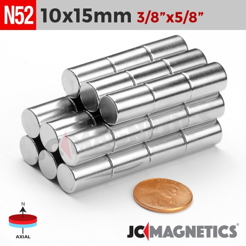 N52 10mm x 15mm 3/8in x 19/32in Cylinder Rare Earth Neodymium Magnet