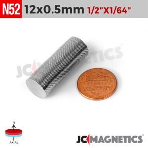 N52 12mm x 0.5mm 1/2in x 1/64in Thin Discs Rare Earth Neodymium Magnet