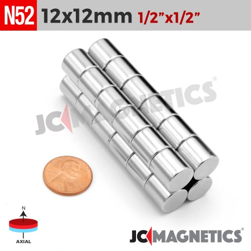 N52 12mm x 12mm 1/2in x 1/2in Discs Rare Earth Neodymium Magnet