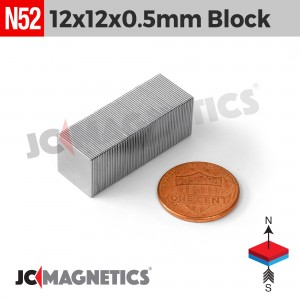 N52 12mm x 12mm x 0.5mm Thin Square Block Rare Earth Neodymium Magnet