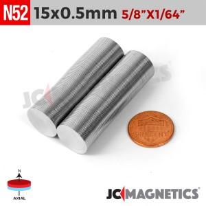 N52 15mm x 0.5mm 5/8in x 1/64in Thin Discs Rare Earth Neodymium Magnet