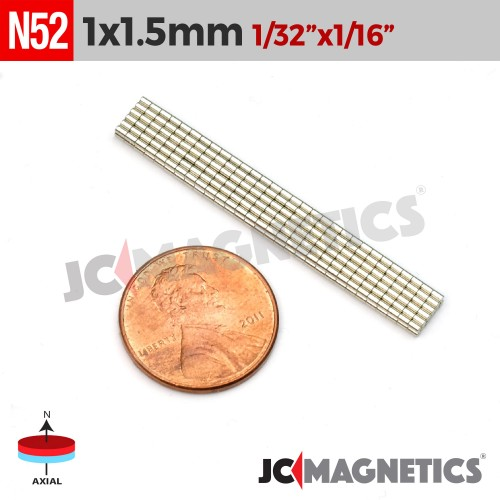 100pcs 1mm x 1.5mm 1/32in x 1/16in N52 Discs Cylinder Rare Earth Neodymium Magnets
