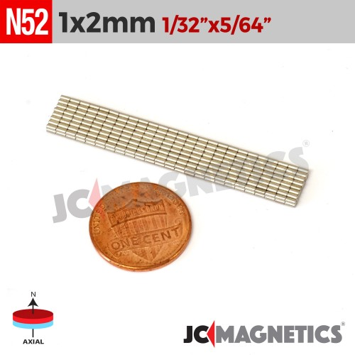 100pcs 1mm x 2mm 1/32in x 1/16in N52 Discs Cylinder Rare Earth Neodymium Magnets