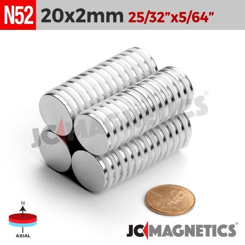 N52 20mm x 2mm 25/32in x 5/64in Discs Rare Earth Neodymium Magnet