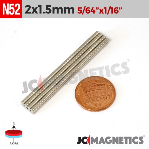100pcs 2mm x 1.5mm 5/64in x 1/16in N52 Discs Rare Earth Neodymium Magnets