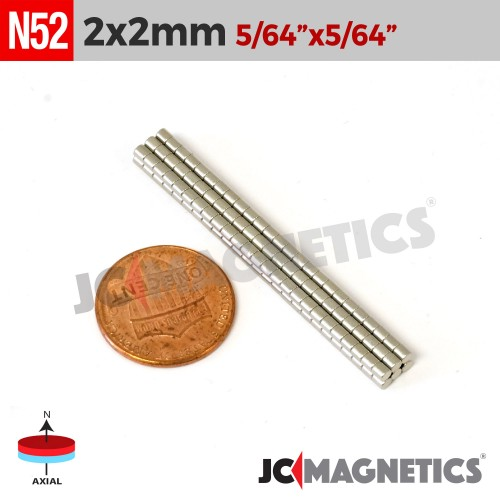 100pcs 2mm x 2mm 5/64in x 5/64in N52 Discs Cylinders Rare Earth Neodymium Magnets