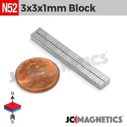 100pcs 3mm x 3mm x 1mm 1/8in x 1/8in x 1/32in N52 Thin Square Blocks Rare Earth Neodymium Magnets