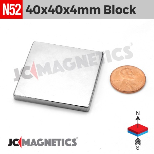 N52 40mm x 40mm x 4mm Square Block Rare Earth Neodymium Magnet
