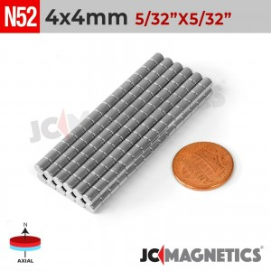 N52 4mm x 4mm 5/32in x 5/32in Discs Cylinder Rare Earth Neodymium Magnet