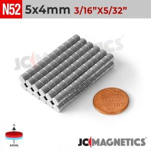N52 5mm x 4mm 3/16in x 5/32in Discs Rare Earth Neodymium Magnet