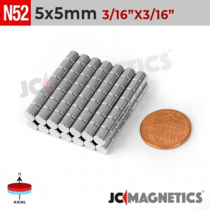 N52 5mm x 5mm 3/16in x 3/16in Discs Cylinder Rare Earth Neodymium Magnet
