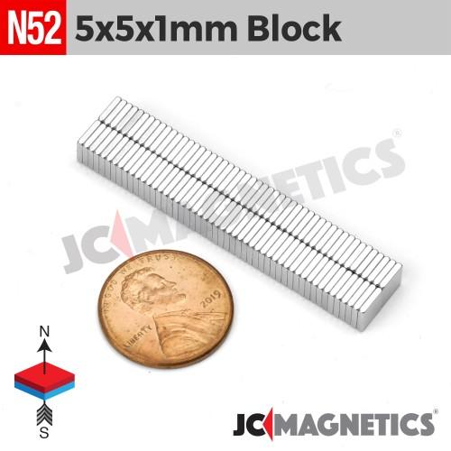 N52 5mm x5mm x 1mm Thin Square Block Rare Earth Neodymium Magnet
