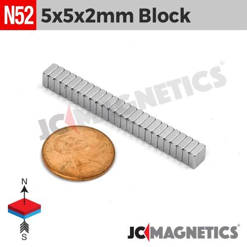 N52 5mm x 5mm x 2mm Square Block Rare Earth Neodymium Magnet