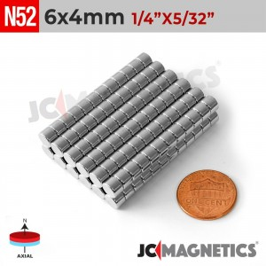N52 6mm x 4mm 1/4in x 5/32in Discs Rare Earth Neodymium Magnet