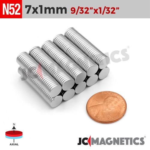N52 7mm x 1mm 9/32in x 1/32in Thin Discs Rare Earth Neodymium Magnet