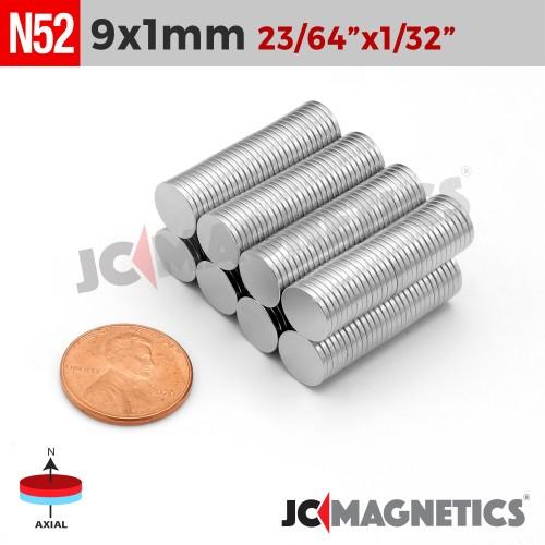 N52 9mm x 1mm 23/64in x 1/32in Thin Discs Rare Earth Neodymium Magnet