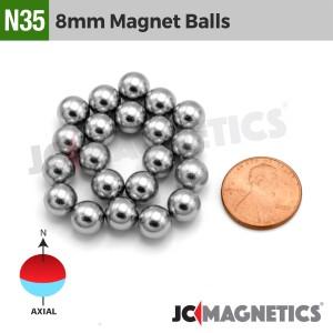 64pcs 8mm - 1/3in Diameter N35 Magnet Spheres Balls Rare Earth Neodymium Magnet