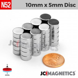 N52 10mm x 5mm 3/8in x 3/16in Discs Rare Earth Neodymium Magnet