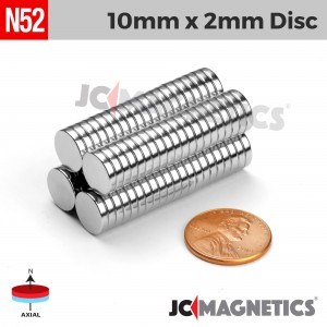 N52 10mm x 2mm 3/8in x 1/16in Discs Rare Earth Neodymium Magnet