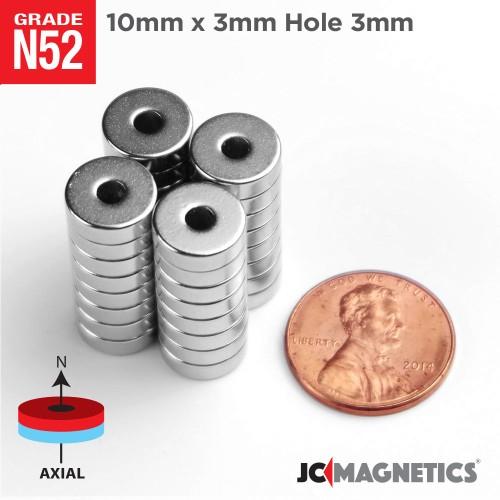 N52 10mm x 3mm x Hole 3mm Ring Rare Earth Neodymium Magnet