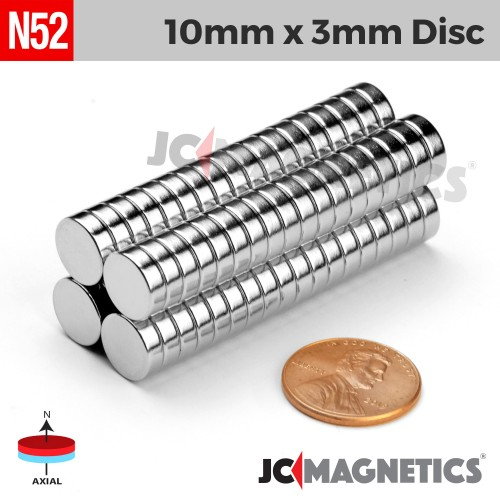 N52 10mm x 3mm 3/8in x 1/8in Discs Rare Earth Neodymium Magnet