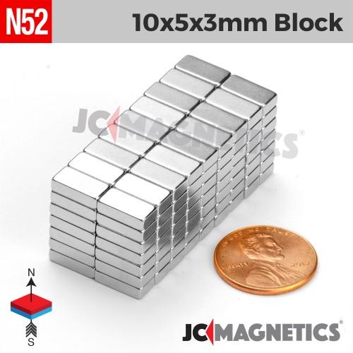 N52 10mm x 5mm x 3mm Block Rare Earth Neodymium Magnet