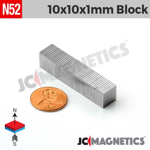 N52 10mm x 10mm x 1mm Thin Square Block Rare Earth Neodymium Magnet
