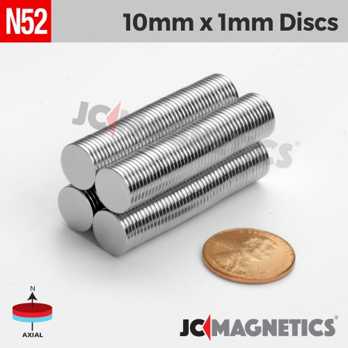 N52 10mm x 1mm 3/8in x 1/32in Thin Discs Rare Earth Neodymium Magnet