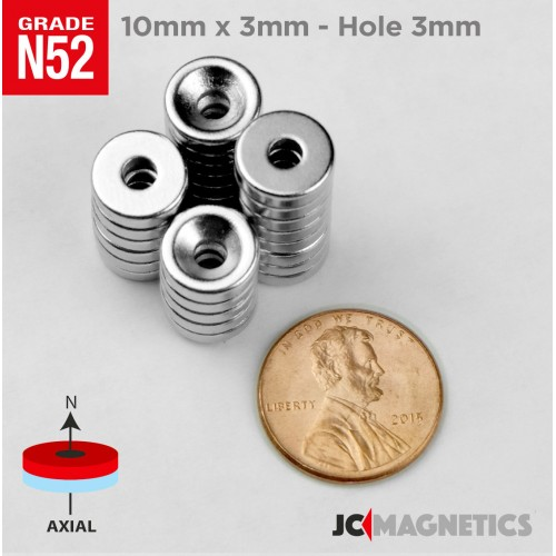 N52 10mm x 3mm x Hole 3mm Countersunk Ring Rare Earth Neodymium Magnet