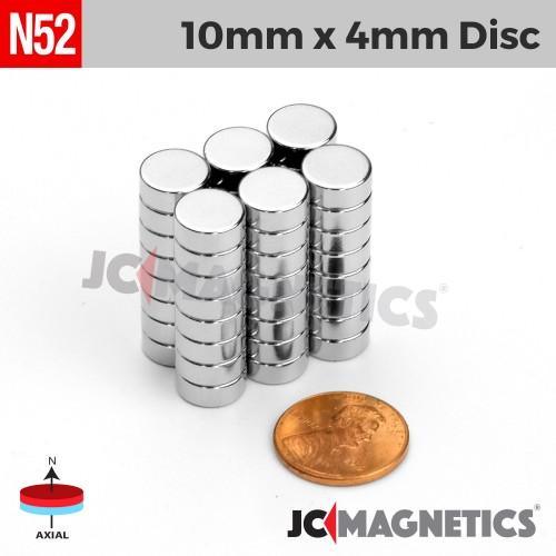 N52 10mm x 4mm 3/8in x 5/32in Discs Rare Earth Neodymium Magnet
