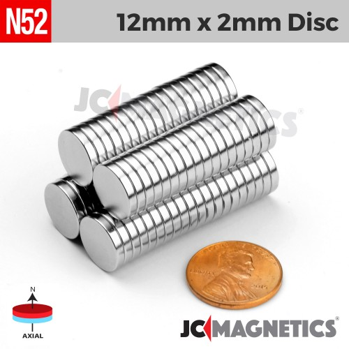 N52 12mm x 2mm 1/2in x 1/16in Discs Rare Earth Neodymium Magnet
