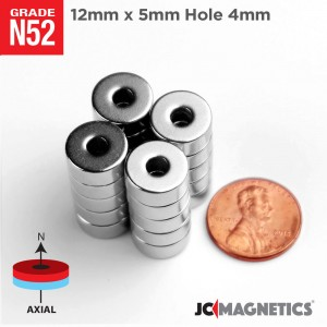 N52 12mm x 5mm x Hole 4mm Ring Rare Earth Neodymium Magnet
