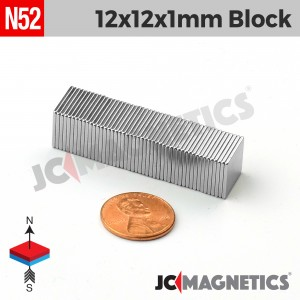 N52 12mm x 12mm x 1mm Thin Square Block Rare Earth Neodymium Magnet
