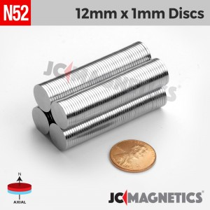 N52 12mm x 1mm 1/2in x 1/32in Discs Rare Earth Neodymium Magnet