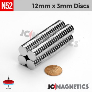 N52 12mm x 3mm 1/2in x 1/8in Discs Rare Earth Neodymium Magnet