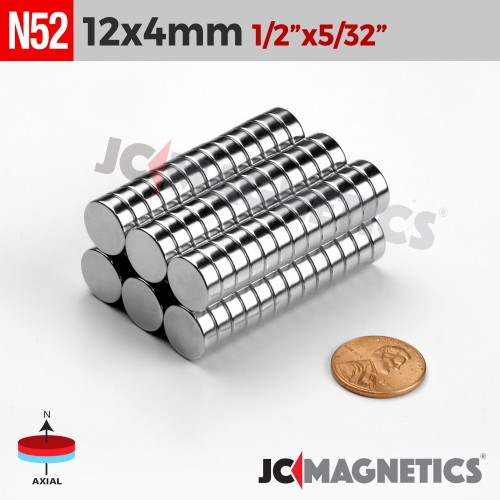 N52 12mm x 4mm 1/2in x 5/32in Discs Rare Earth Neodymium Magnet