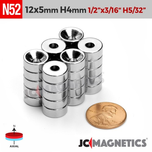N52 12mm x 5mm x Hole 4mm Countersunk Ring Rare Earth Neodymium Magnet