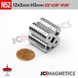 N52 12mm x 3mm x Hole 3mm Countersunk Ring Rare Earth Neodymium Magnet