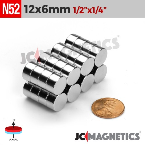 N52 12mm x 6mm 1/2in x 1/4in Discs Rare Earth Neodymium Magnet