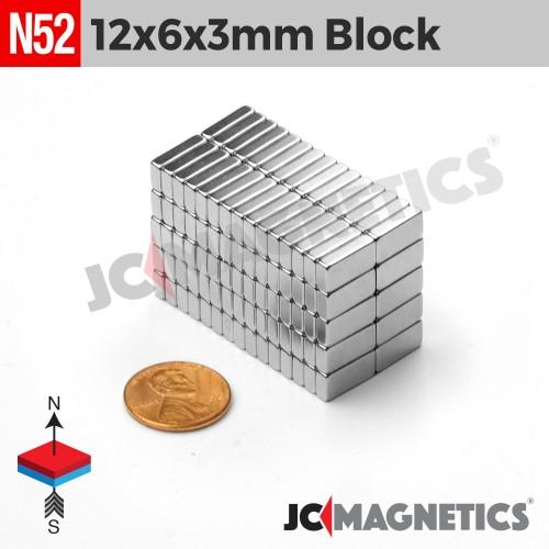 N52 12mm x 6mm x 3mm Block Rare Earth Neodymium Magnet