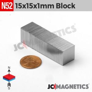 N52 15mm x 15mm x 1mm Thin Square Block Rare Earth Neodymium Magnet