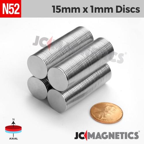 N52 15mm x 1mm 5/8in x 1/32in Discs Rare Earth Neodymium Magnet