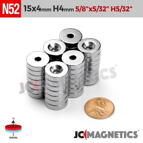 N52 15mm x 4mm x Hole 4mm Countersunk Ring Rare Earth Neodymium Magnet