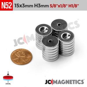 N52 15mm x 3mm x Hole 3mm Countersunk Ring Rare Earth Neodymium Magnet