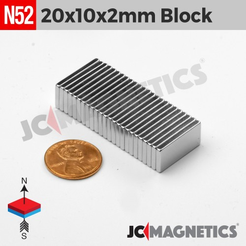N52 20mm x 10mm x 2mm Block Rare Earth Neodymium Magnet