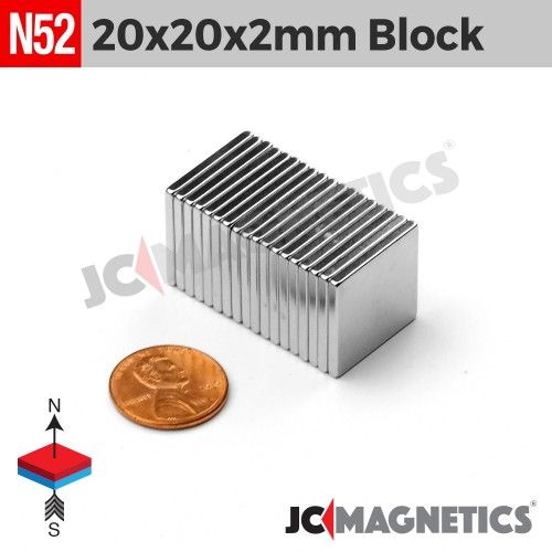 N52 20mm x 20mm x 2mm Square Block Rare Earth Neodymium Magnet