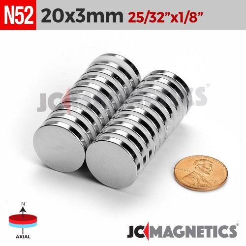 N52 20mm x 3mm 25/32in x 1/8in Discs Rare Earth Neodymium Magnet