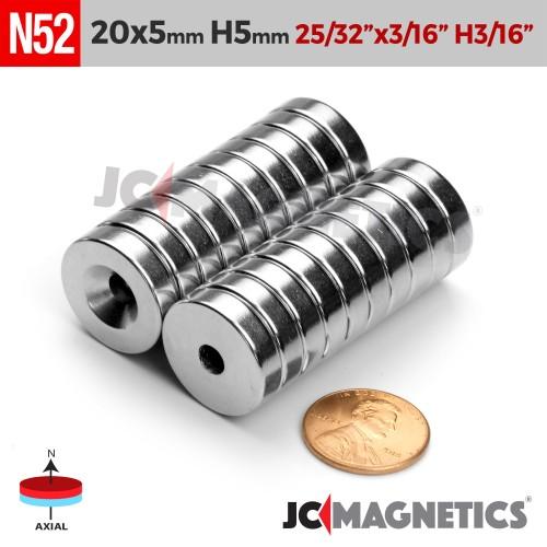 N52 20mm x 5mm x Hole 5mm Countersunk Ring Rare Earth Neodymium Magnet
