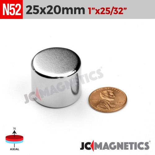 N52 25mm x 20mm 1in x 25/32in Disc Cylinder Rare Earth Neodymium Magnet